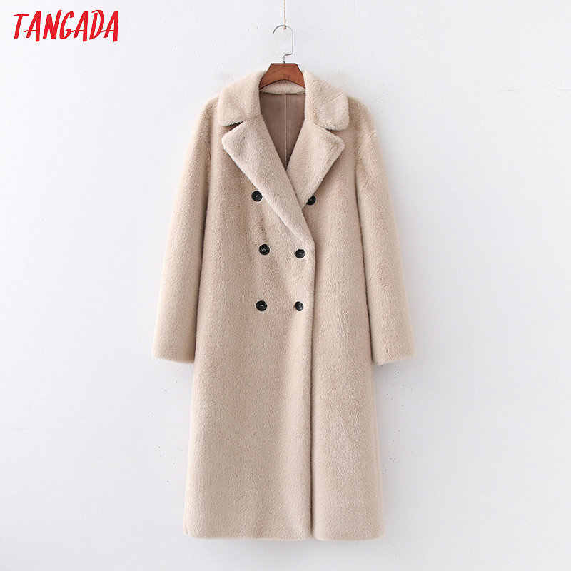 Tangada women solid oversized faux fur teddy coat warm thick buttons autumn winter warm plush coat Female overcoat 1D170