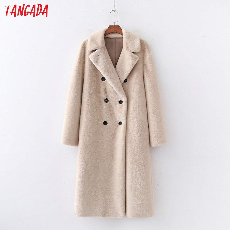 Tangada women solid oversized faux fur teddy coat warm thick buttons autumn winter warm plush coat Female overcoat 1D170 image