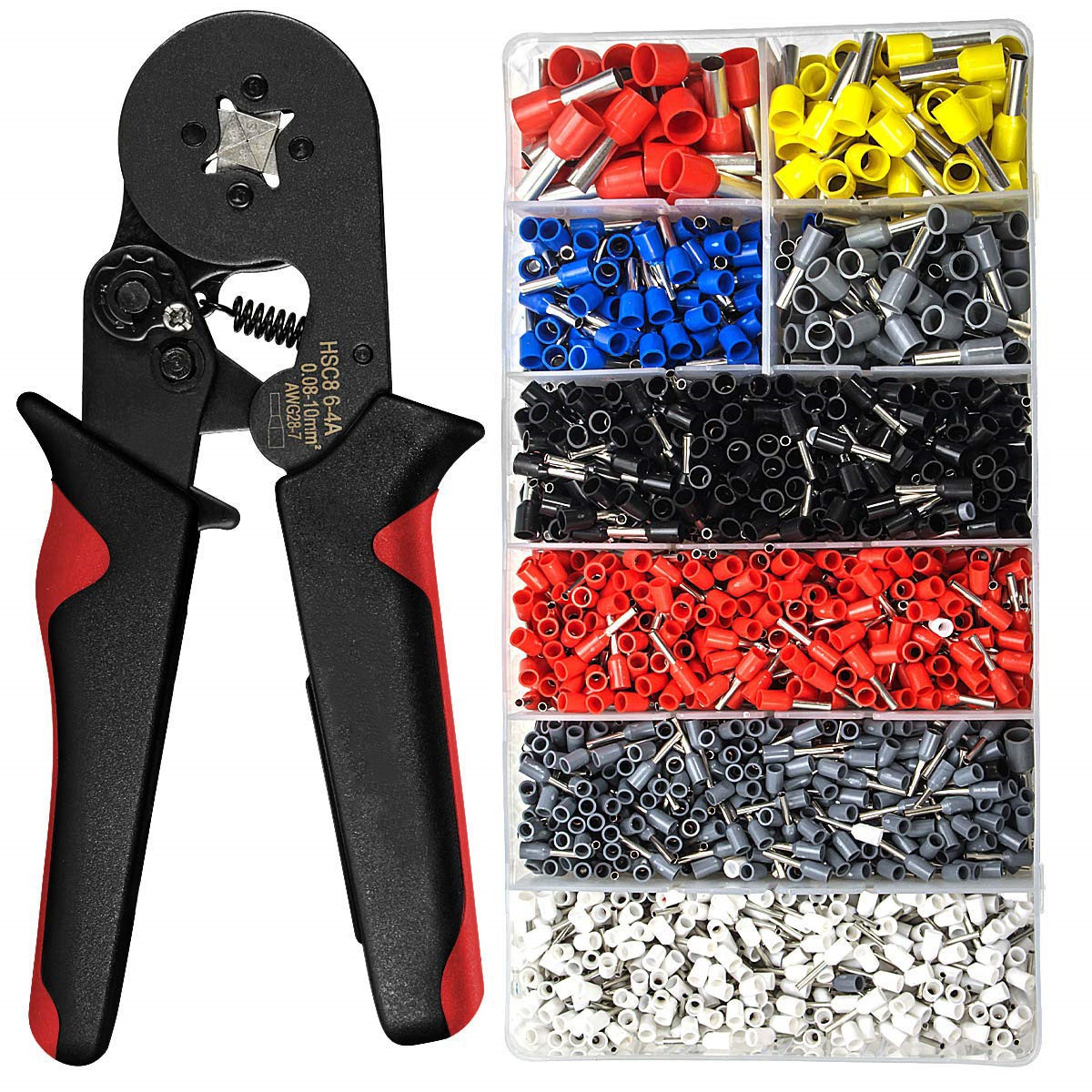 HSC8 6-4 0.25-10mm2 23-10AWG crimping pliers 1200pcs terminals for tube type needle type terminal crimp self-adjusting tool