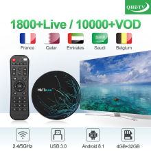 Subscription IPTV France Arabic QHDTV HK1 PLUS Android 8.1 4G+32G BT Dual-Band WIFI 1 Year Receiver