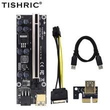10Pcs TISHRIC VER009s Plus PCIE Riser Card Ver 009S Sata 15 Pin to 6 Pin Express 1X 4X 8X 16X Adapter Extender Mining Miner