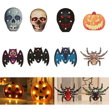 Halloween Lights Party Decorative Led Lights Diwali Styling Lamp Night Light Halloween Spider Bat Pumpkin Ghost Skull Lights image