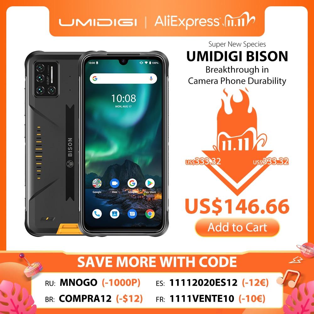 "UMIDIGI BISON IP68/IP69K Waterproof Rugged Phone 48MP Matrix Quad Camera 6.3"" FHD+ Display 6GB+128GB NFC Android 10 Smartphone|Cellphones| - AliExpress"
