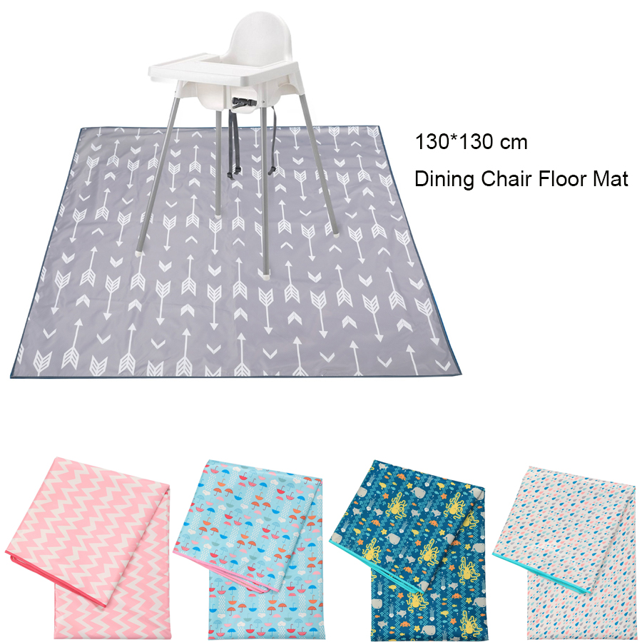 130*130 Cm Dining Chair Cushion Floor Protector Mat Non Slip Waterproof Picnic Mat High Chair Cushion Mat Baby Eatting Play Mat