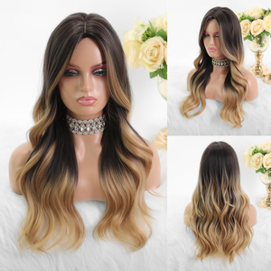 Image 4 - JONRENAU Long Synthetic Natural Wave Brown to Golden Blonde Ombre  Hair Wig Daily Wear Wigs for White /Black women