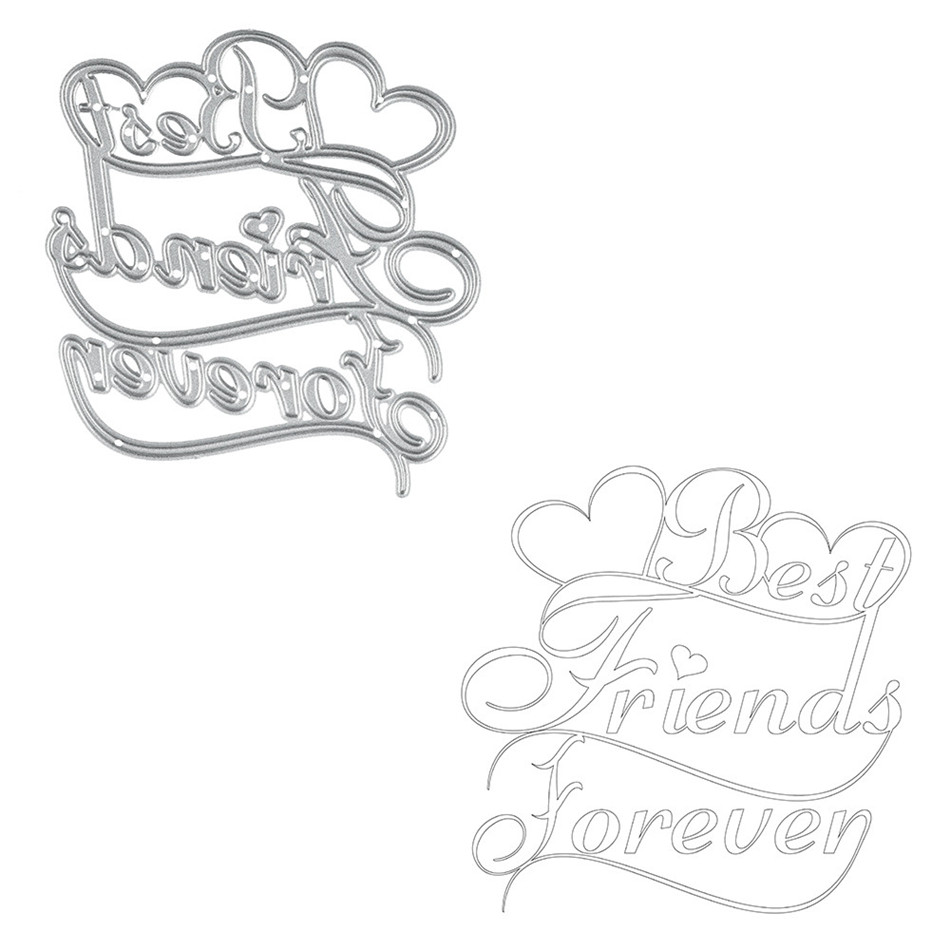 YaMinSanNiO Best Friends Forever Metal Cutting Dies Scrapbooking Craft Dies Stencil Album Embossing Card Making Die Cut New Dies