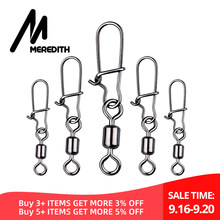 MEREDITH 50pcs/lot Fishing Connector Pin Bearing Rolling Swivel Stainless Steel with Snap Fishhook Lure Swivels Tackle(China)