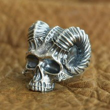 925 Sterling Silver Horned Demon Skull Ring Mens Biker Punk Ring US Size 7.5~10 925 sterling silver dragon claw round green cz eye mens biker skull ring 9m202a