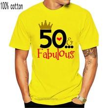 2018 verão mulheres t camisa 50 fabuloso senhoras 50th aniversário t camisa 50 anos amigo mãe presente bonito t camisa 035481