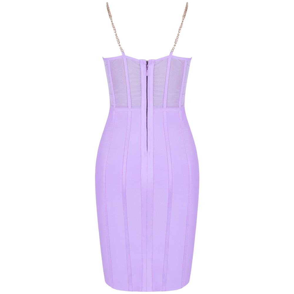 Image 5 - Ocstrade Vestido Bandage Midi Dress Autumn Winter 2020 New Women  Neon Purple Bandage Dress Sleeveless Bodycon Club Party DressDresses