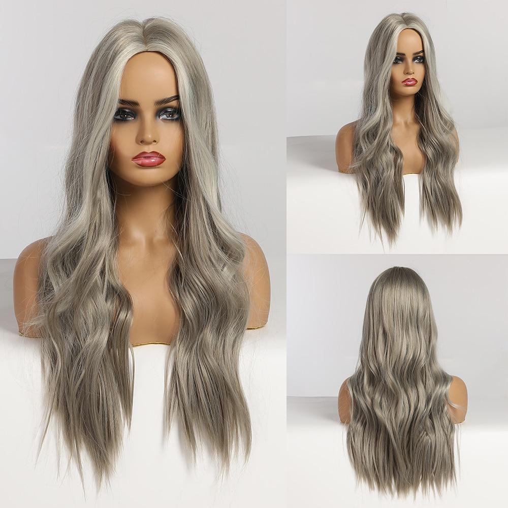 Longo ondulado loira perucas sintéticas com destaques