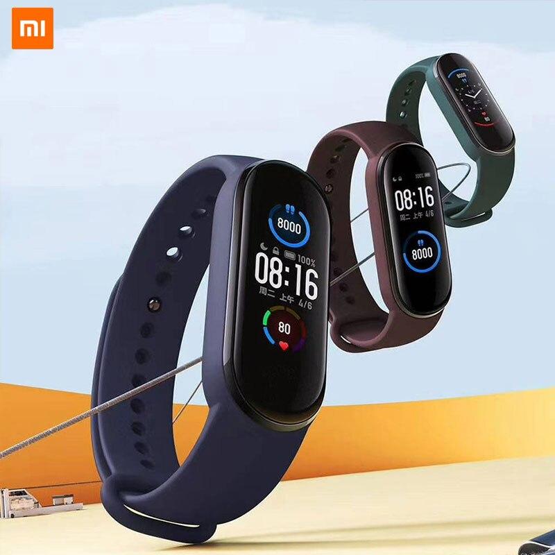 Новый смарт браслет xiaomi mi Band 5, 4 цветного сенсорного экрана AMOLED, mi band 5, фитнес трекер, пульсометр|Смарт-браслеты|   | АлиЭкспресс