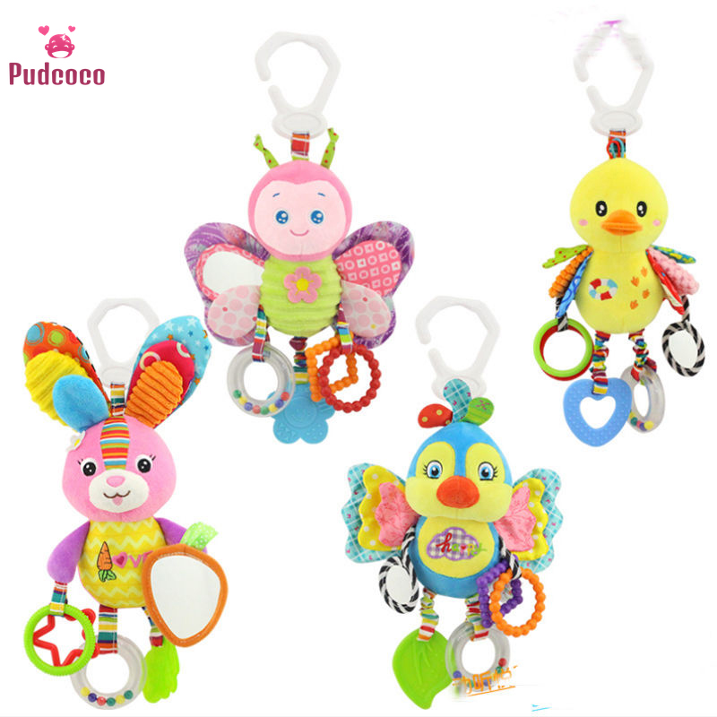 Pudcoco Brand Cute Crib Cot Pram Hanging Rattles For <font><b>Baby</b></font> Stroller&Car Seat Ringing Stuffed Plush Animals <font><b>Baby</b></font> <font><b>Toy</b></font> Education image