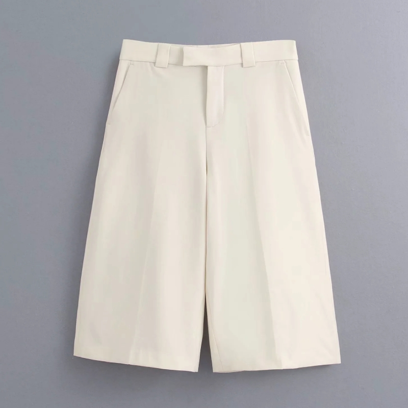 New 2020 Women Solid Color Kneeth Length Pants Female Casual Slim Pocket Straight Trousers Office Wear Pantalones Mujer