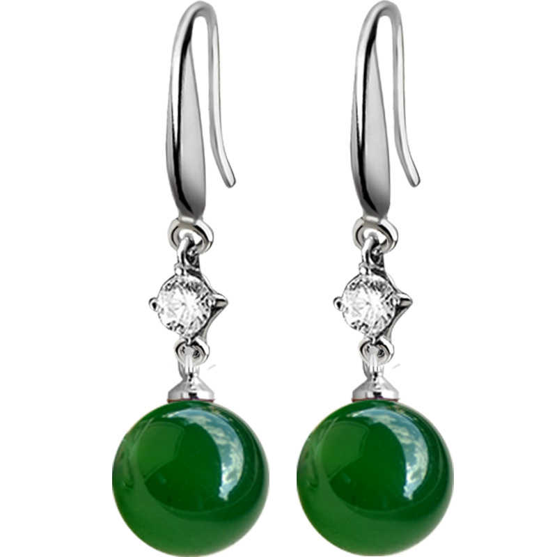 925 Sliver Emerald Jewelry Earrings Natural Green Agate Chalcedony Gemstone Drop Garnet 925 Diamond Earrings for Women Orecchini