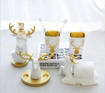 Ceramic wash bathroom five-piece furniture decoration wash bathroom supplies gift set mouth cup bathroom accessories toiletries