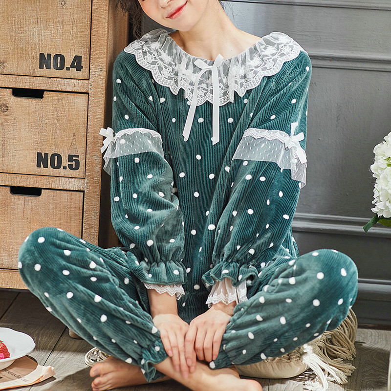 JULY'S SONG Women Cute Thick Flannel Pajama Sets Sleepwear Wave Autumn Winter Lace Pajamas Warm 2 Pieces Pajamas Homewear Suit 27