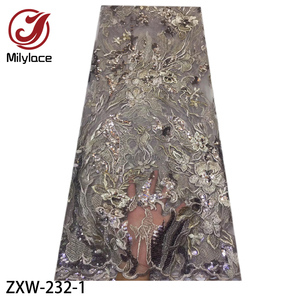 Image 1 - 2019 moda francês tecido de renda com lantejoulas 5 metros tule africano bordado flor tecido renda líquida para o casamento ZXW 232