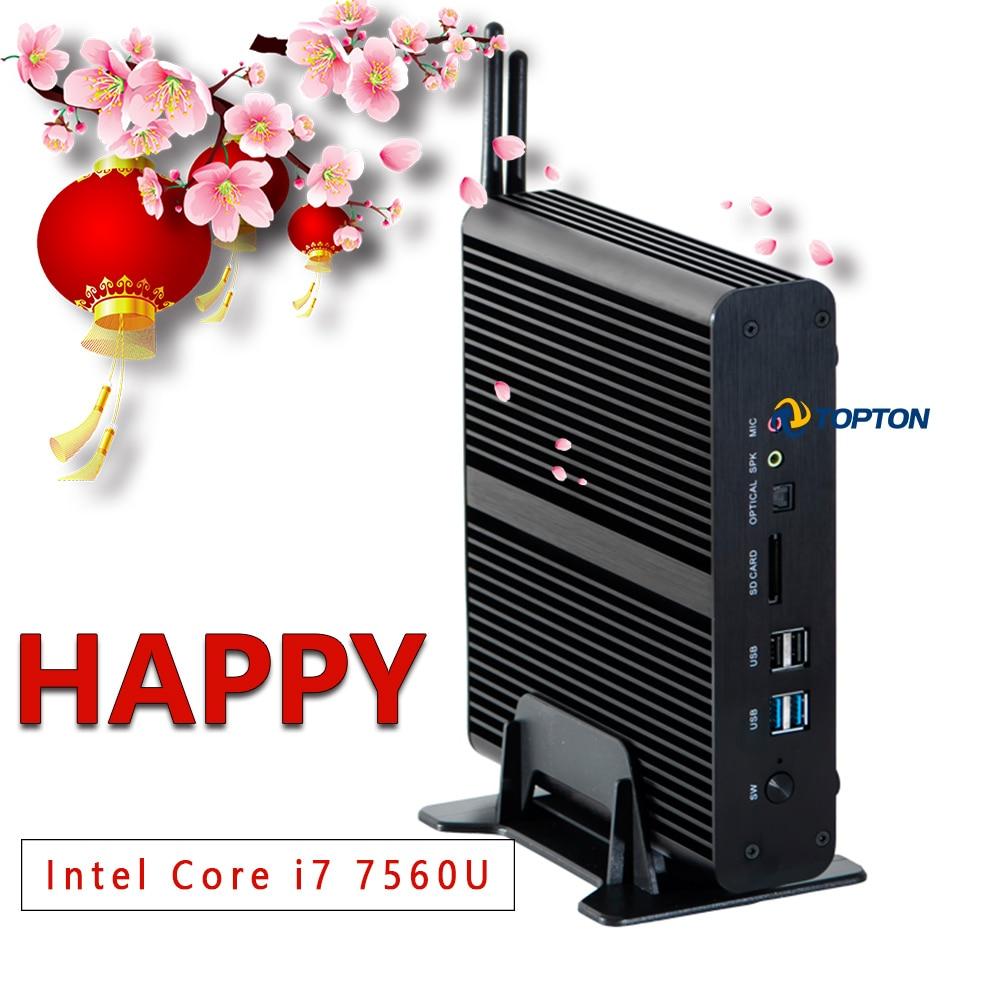 Mini Gaming PC Intel I7 7560U CPU UHD Graphics 630 Fanless Mini Computer HDMI, DP, 2 LAN (RJ45),  4USB3.0, Wi-Fi, Windows 10 Pro