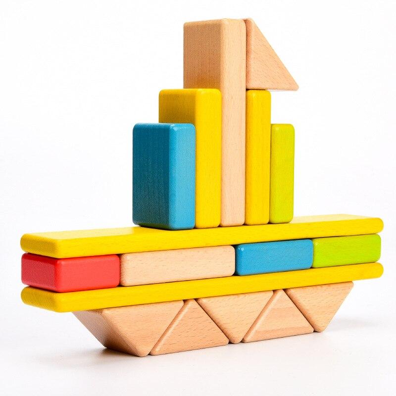Деревянные пустотелые строительные блоки для матери и принца, пустотелые детские головоломки, креативные сборные игрушки, Большие твердые ... - 2