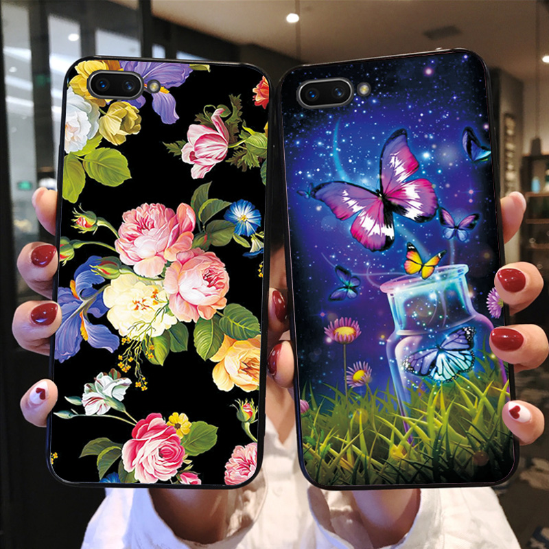 Butterfly Shell For OPPO A5 A3S A7 AX7 Cases Beautiful Flower Black TPU Cover Bags For OPPO K1 RX17 Neo Phone Case R17 Neo Coque image