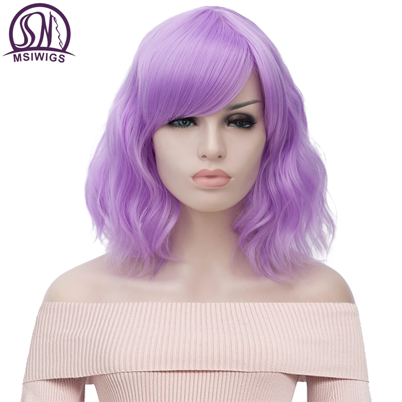 MSIWIGS Short Cosplay Purple Wigs For Women Curly Red Blue Wig With Side Bangs Green Pink Synthetic Hair Wig Heat Resistant