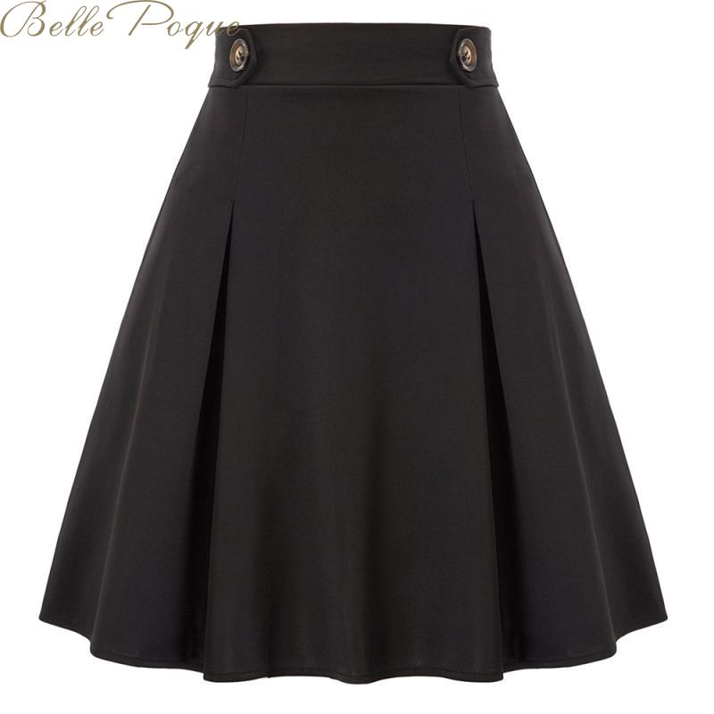 Belle Poque High Waist Women Pleated Skirt Buttons A-line Autumn Winter Female Midi Skirts Elegant Office Ladies Black Skirts