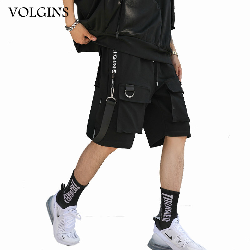 Streetwear Men Hip Hop Short Joggers Streetwear Harajuku Cargo Shorts Ribbons Pockets Summer Black Tatical Military Baggy Short
