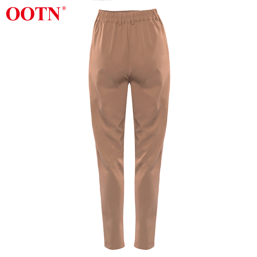 Hba9196bb526846e6b27c0475bd0258dfz - OOTN Casual High Waist Khaki Pants Women Summer Spring Brown Ladies Office Trousers Zipper Pocket Solid Female Pencil Pants