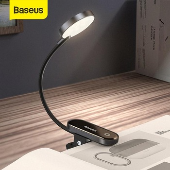 Baseus Led Desk Lamp Clip-On Night Light Reading Computer Keyboard illuminated Eye Protection Lamp With USB Charging For Bedroom