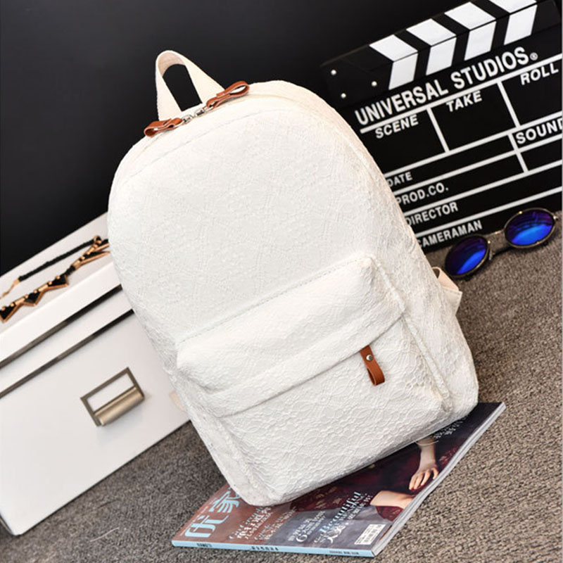2019 New Women Fashion Lace Backpacks Hight Quality Canvas Teenage Girls Large Capacity Backpack Female School Women's Bags