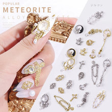 3D Gold Silver Metal Zircon Nail Art Rhinestones Anchor Cross Pendant Bee Jewelry Decor Charm Pearl Luxury Diamonds Decorations cheap Misscheering Flatback Nail Rhinestones CRYSTAL Rhinestone Decoration 1Pcs Different As Picture Show Silver Gold Alloy Nail Art Decorations