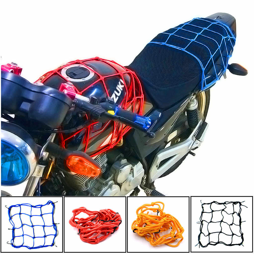 Hot Multifuction 1x Bungee Black Cargo Net Motorcycle Cord Helmet Storage Bag Mesh Adjustable Car Moto Devices