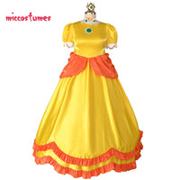 Plus Size Princess Daisy Cosplay Costume Yellow Long Dress Women Halloween Cosplay Outfit