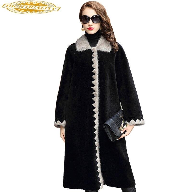 2020 Luxury Real Wool Fur Coat Female Sheep Shearing Coats Natural MInk Fur Trim Collar Long Winter Jacket Women 1821C