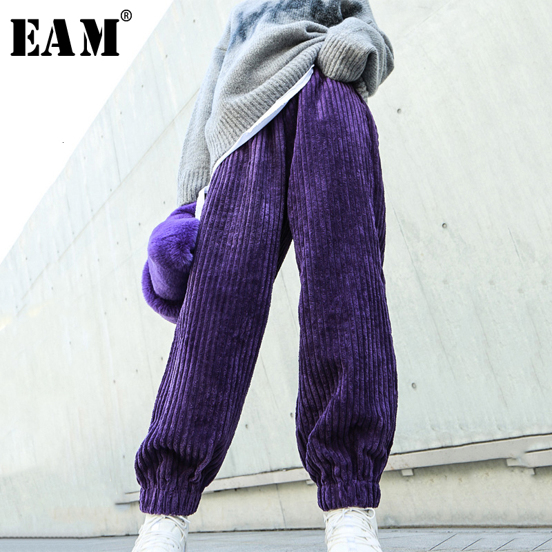 [EAM] High Elastic Waist Black Long Corduroy Wide Leg Trousers New Loose Fit Pants Women Fashion Spring Autumn 2020 19A-a322