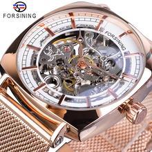 цена на Forsining Fashion Machanical Watches Automatic Mens Wristwatch Rose Gold Mesh Watch Waterproof Top Brand Luxury Erkek Kol Saati