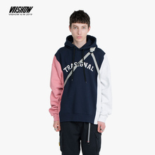 VIISHOW Fashion Brand 2019 autumn Letter print mens Hoodies Blue stitching Casual Hoodie Male Sweatshirt WD1788193