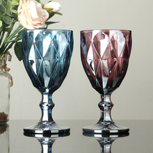 Goblet Glass Vintage-Juice Colorful Relief Red European-Style