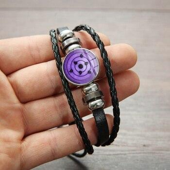 SONGDA Naruto Shippuden Anime Leather Bracelet Uchiha Sasuke Icon Glass Round Photo Handmade Beaded Bracelets Fashion Fans Gift 4