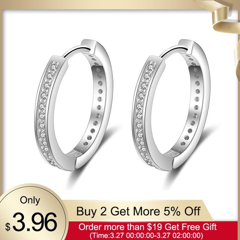 925 Sterling Silver Round Hoop Earrings For Women Classic Style Cubic Zirconia Paved Circle Earrings Fine Jewelry (Lam Hub Fong)
