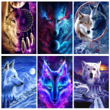 Wolf diy 5d diamond painting full square/round rhinestone paintings