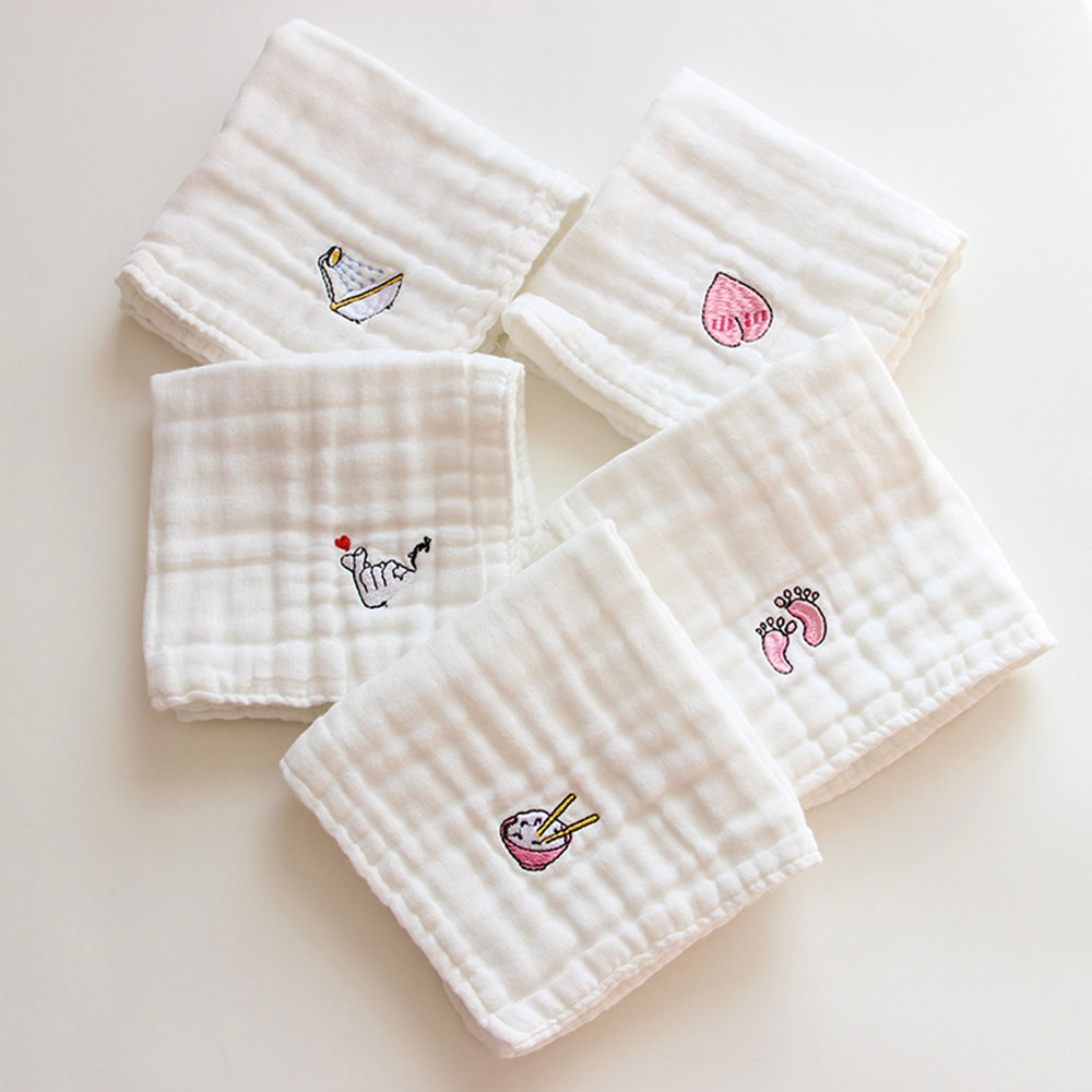 <font><b>Baby</b></font> <font><b>Towel</b></font> Cotton Embroidered 6 Layers Gauze Squares <font><b>Baby</b></font> Saliva Face Washcloth Infant Toddler Newborns <font><b>Baby</b></font> <font><b>Feeding</b></font> <font><b>Towel</b></font> image