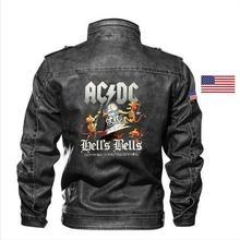 goatskin ACDC часы кожаная куртка Тонкий кожаный мотоцикл мужская куртка брендовая одежда вышитая эмблема