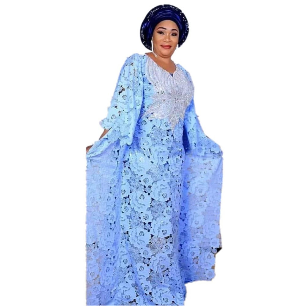 African Dresses for Women Dashiki Lace African Clothes Bazin Broder Riche Sexy Embroidery Sequins Robe Evening Long Dress 2020 02