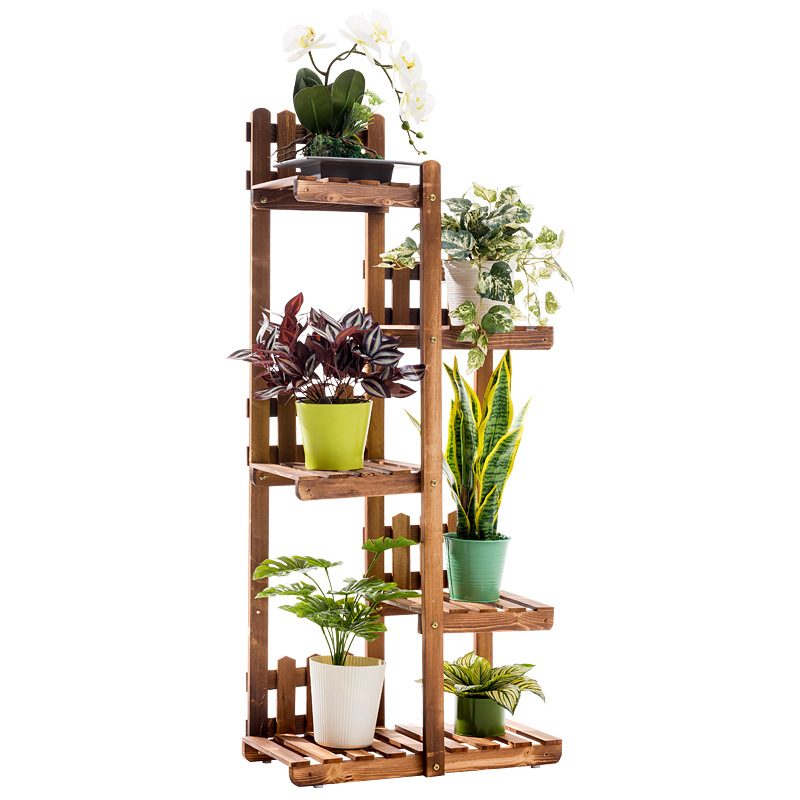 Solid Wood Indoor Plant Stand 5 Layers Floor  Flower Stand Wood Shelves  Balcony  Garden  Stand Planter Dropshipping