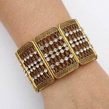 Vintage Crystal Wide Wrap Cuff Bangles for Women Copper Geometric Charm Wristband Bracelet & Bangle Wedding Indian Jewelry недорого