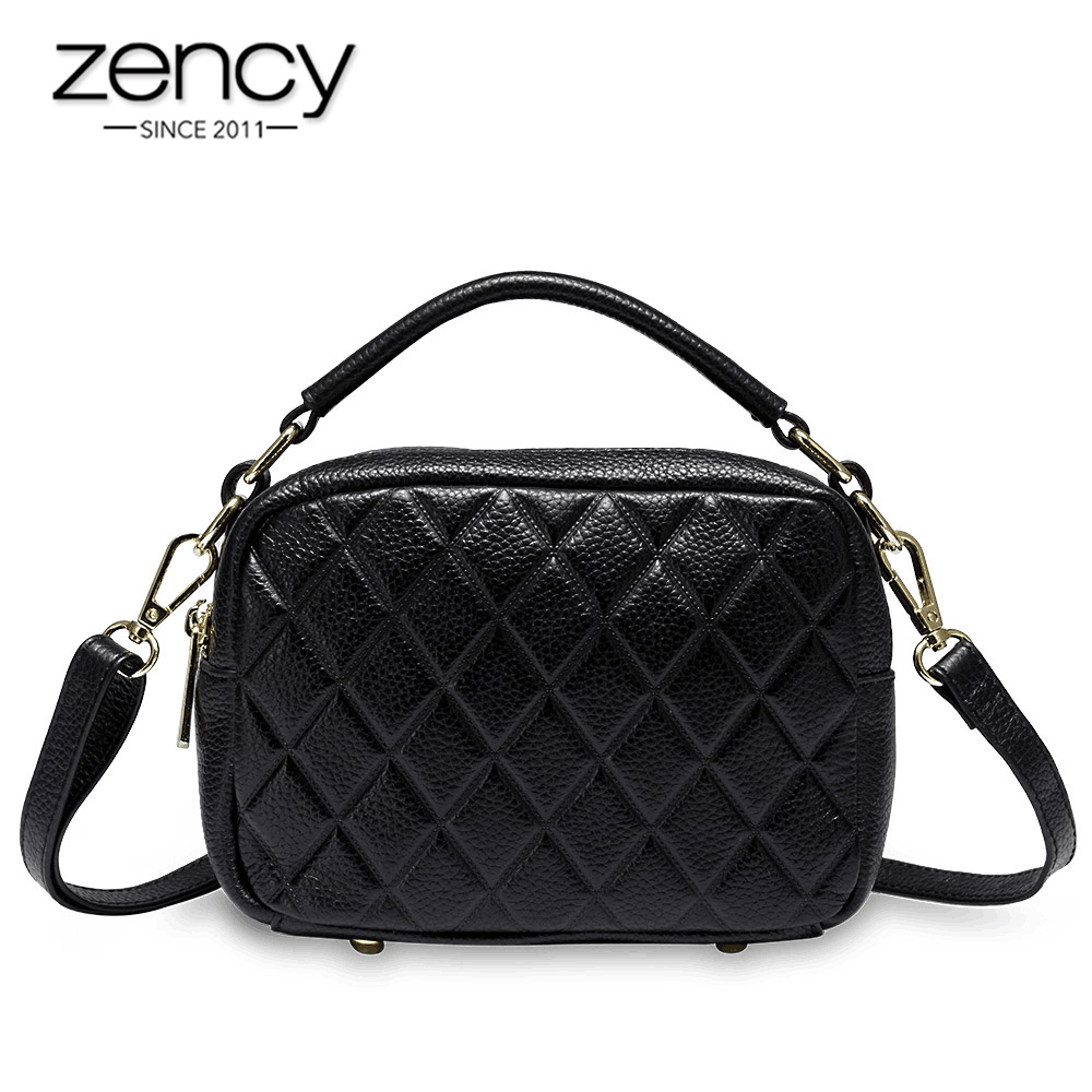 Zency New Arrivals Lingge Women Tote Handbag 100% Genuine Leather Fashion White Lady Crossbody Shoulder Bags Small Pillow Purse