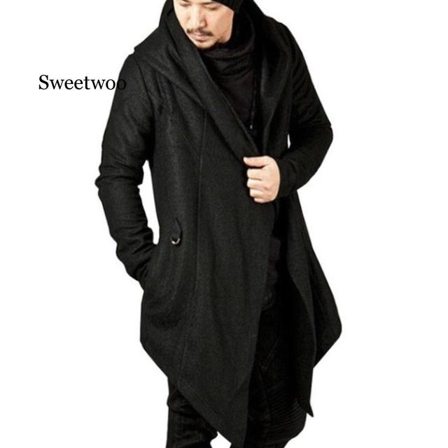 Мужское длинное пальто с капюшоном и асимметричным подолом повседневный