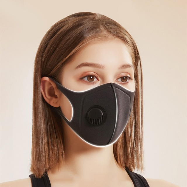 Dust-Proof And Breathable Prevention Of  Flu Black Mask With Breathing Valve Sponge Washable Mask 2